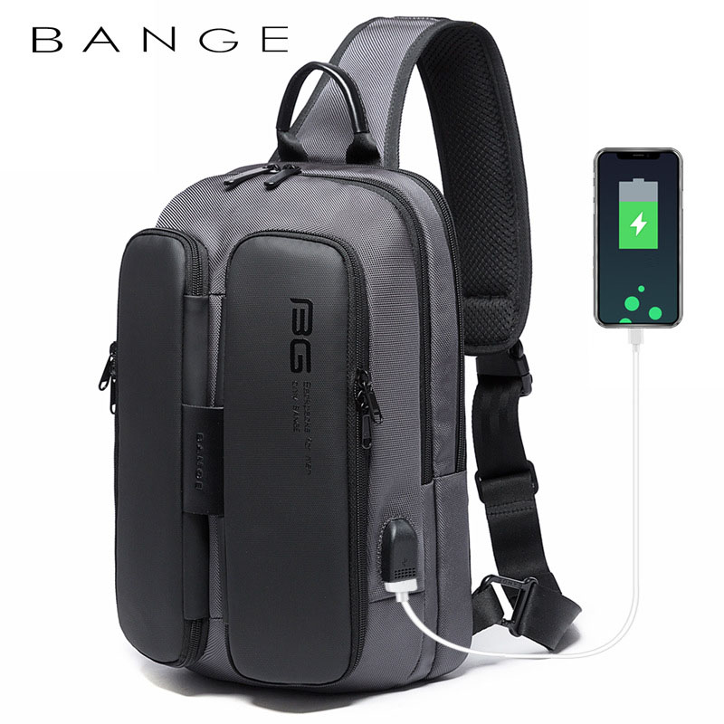 Túi đeo chéo chính hãng BANGE BG-7079 (Đen Xám)