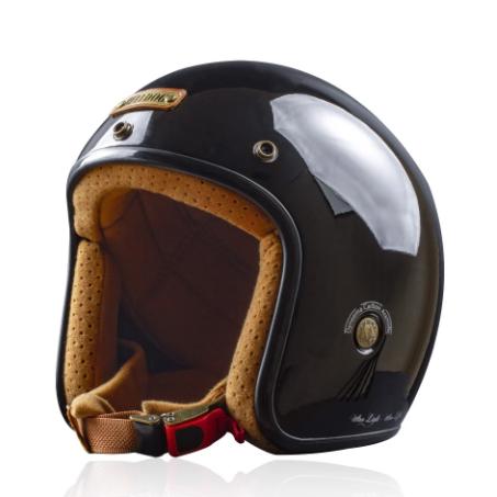 Mũ bảo hiểm 3/4 Bulldog Heli Fiberglass đen bóng