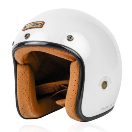 Mũ bảo hiểm 3/4 Bulldog Heli Fiberglass trắng bóng